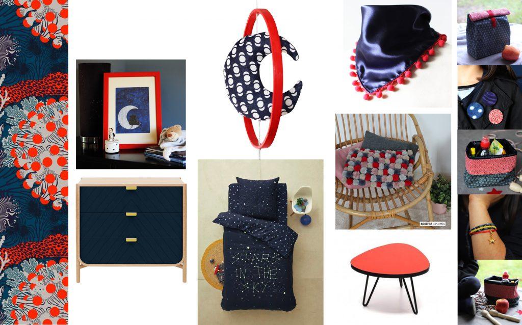 inspiration d co bleu nuit rouge le blog. Black Bedroom Furniture Sets. Home Design Ideas